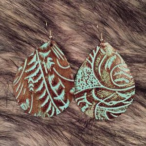 Leather stamped earrings
